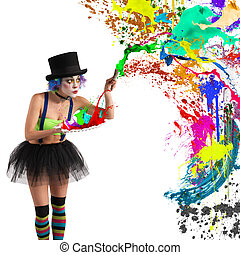 Painter clown paints with brush and palette