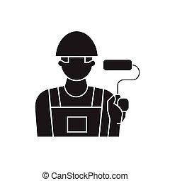 Painter decorator black vector concept icon. Painter decorator flat illustration, sign