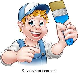 Painter Decorator Handyman Cartoon Character
