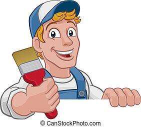 A painter decorator construction handyman cartoon man holding a paintbrush brush. Peeking over a sign