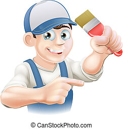 Illustration of a cartoon painter decorator in a cap pointing
