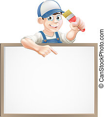 A painter or decorator holding a paintbrush and peeking over a sign and pointing