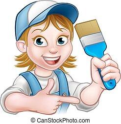 Painter Decorator Woman Cartoon Character