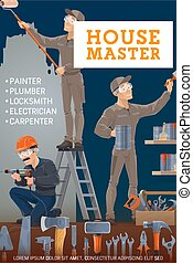 Painter, electrician, carpenter and locksmith vector design ...