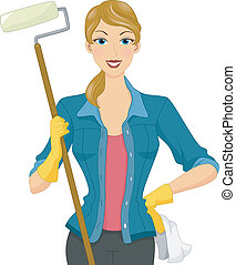 Painter Girl - Illustration of a Woman Wearing Gloves...
