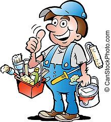 Painter Handyman, giving thumb up - Hand-drawn Vector...