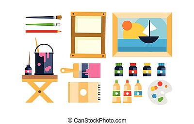 Painter icons set, art tools and materials flat vector Illustration on a white background