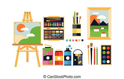 Painter icons set, painting, art tools and materials flat vector Illustration on a white background