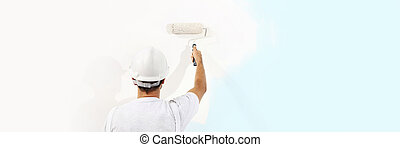 painter man at work with a paint roller isolated , web...