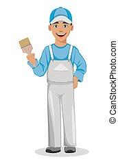 Painter man. Decorator cartoon character