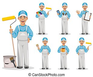 Painter man. Decorator cartoon character