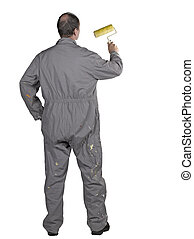 Painter man in uniform with paint roller Isolated over white background