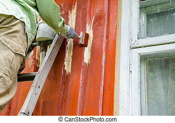 Painter man on ladder paint wooden house wall - Painter...