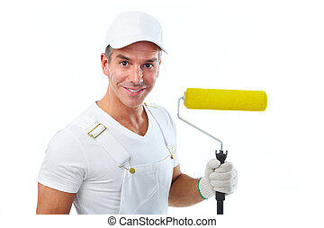 Painter man with painting roller.
