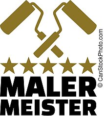 Painter master with crossed roller and golden stars german