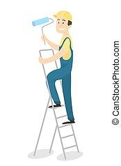 Painter on ladder.