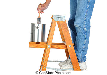 Painter on Ladder with Paint Brush