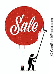 Painter painting the word sale on a wall with a red circle around it.