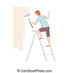 Painter Paints The Wall With Roller Standing On A Ladder Flat Vector Illustration