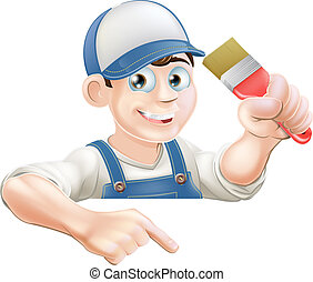 Painter pointing at banner - A cartoon painter or decorator...