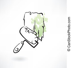 painter roller grunge icon