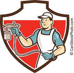 Painter Spray Gun Spraying Shield Cartoon - Illustration of...