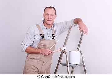 Painter taking a break