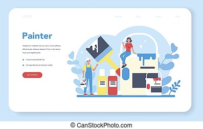 Painter web banner or landing page. People in the uniform paint