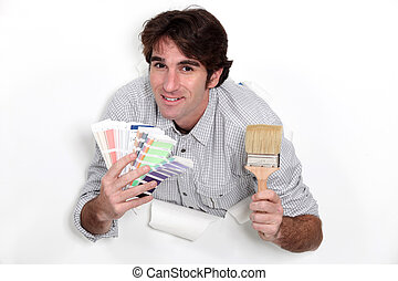 Painter with a colour swatch