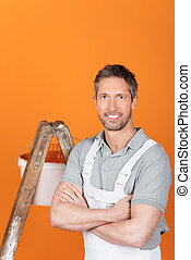 Painter With Arms Crossed - Portrait of confident male...