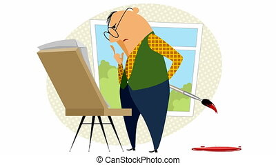 Painter with his easel - Video of the painter with his easel