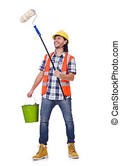 Painter with roller isolated on the white