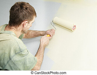 Painter with roller
