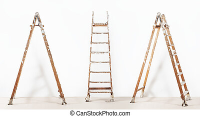 painter wooden ladder,isolated on white, wall painting concept