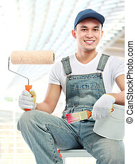 painter worker smiling