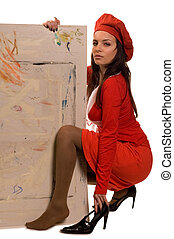 Painter - Young beauty art girl with painting cardboard and ...