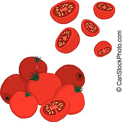 Painterly vector set of cherry tomatoes, raw and sliced.