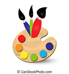 palette - painters palette with primary colors and three ...