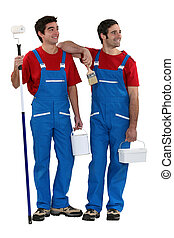 painters standing on white background