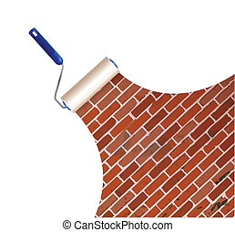 painting a brick wall illustration design over a white...