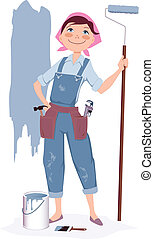 Cute smiling cartoon woman in overalls standing with a painter's roller and a can of paint, vector illustration, no transparencies