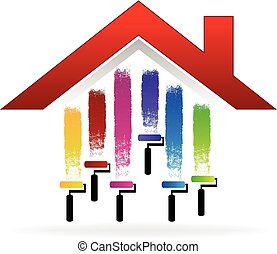 Painting a house logo