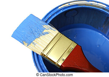Painting - A paint brush and can with the colour blue.