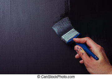 Painting a wall black