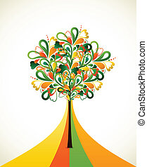 Painting abstract tree on colorful strips. Vector