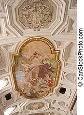 Painting and Frescos on Roman Church Celing