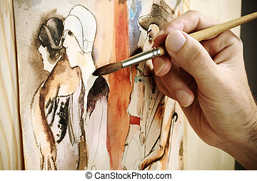 painting - art concept, selective focus, watercolor image ...