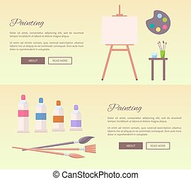 Painting Art Supplies Web Banners Vector Icons