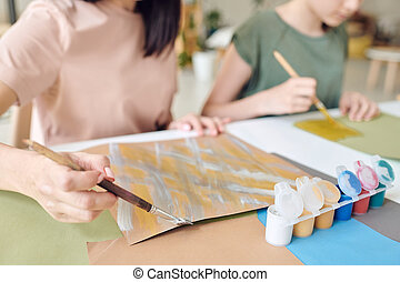 Painting background picture at table