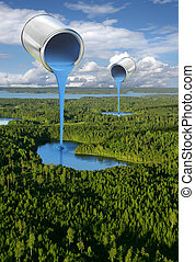 Painting blue lakes environmental concept